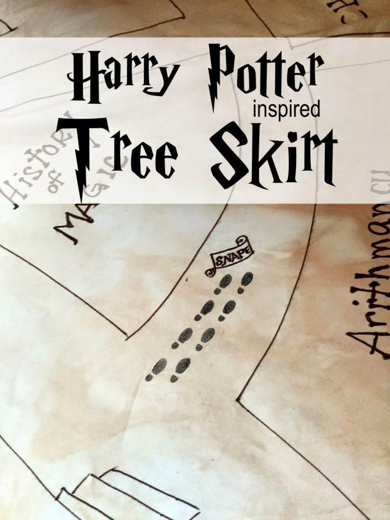 Harry Potter Marauder's Map Christmas tree skirt tutorial