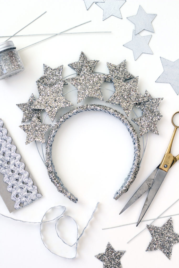 New Year's Eve party crown tutorial with sparkling silver stars