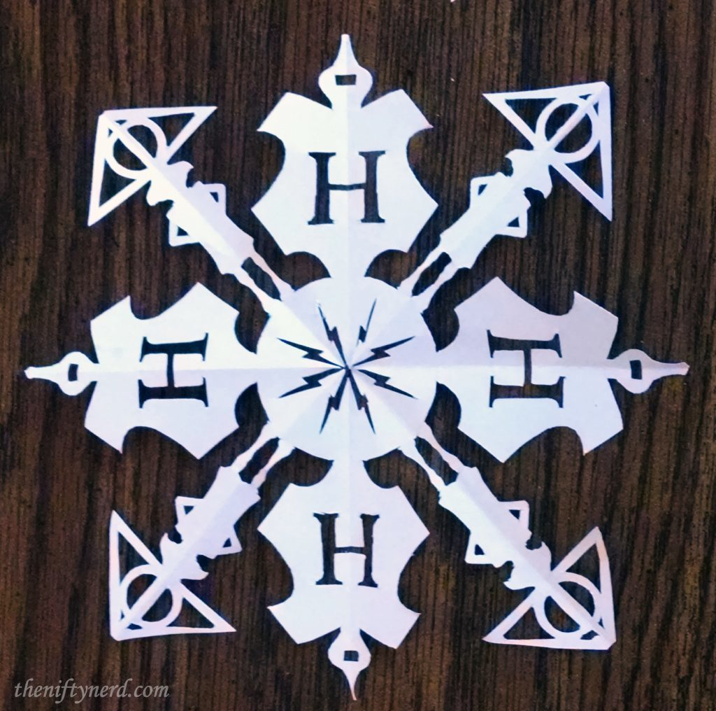 Harry Potter themed Christmas paper cutout snowflakes