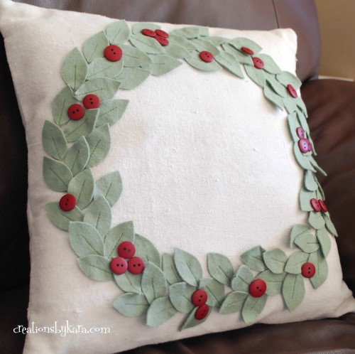 Pottery Barn knockoff felt Christmas wreath pillow