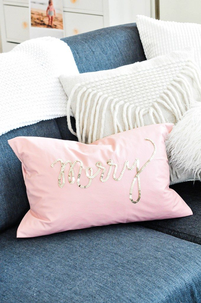 Sequin text Christmas pillow tutorial