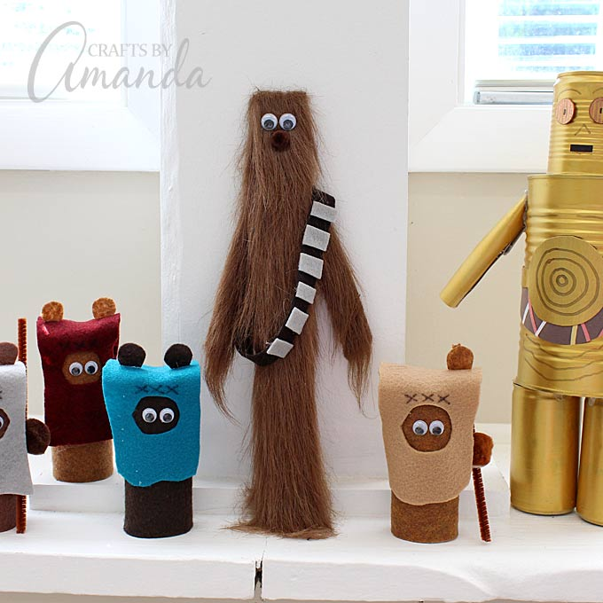 Chewbacca Star Wars craft made from a paint stick and faux fur