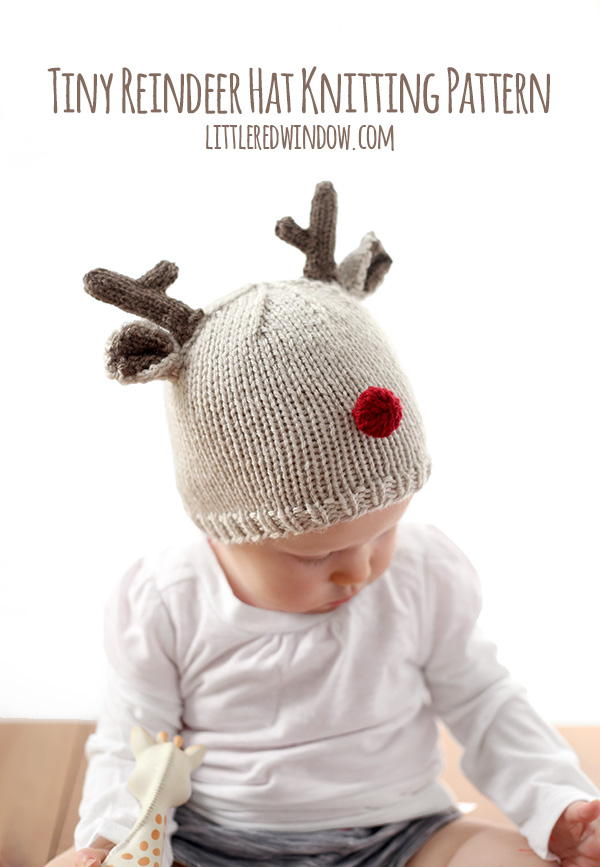 knit reindeer hat tutorial and pattern
