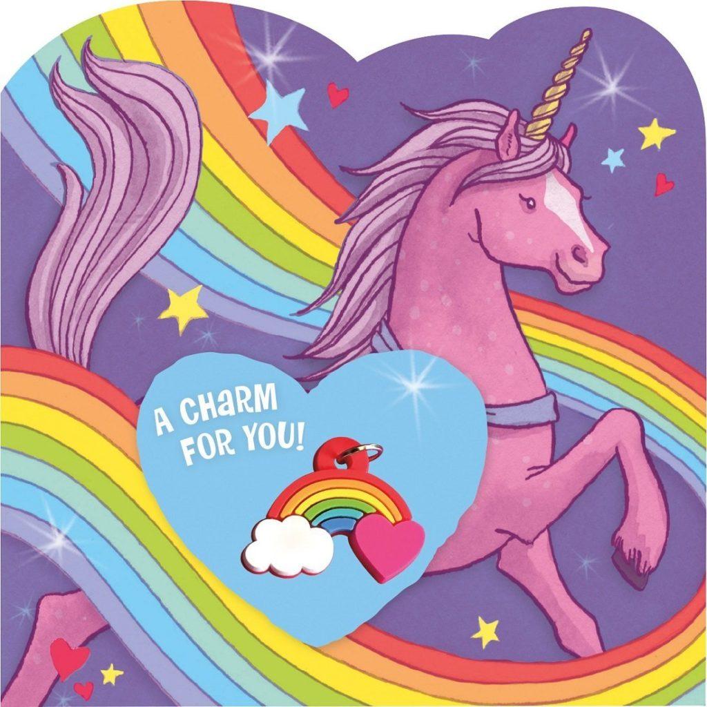 unicorn valentines to buy with rainbow charm gift
