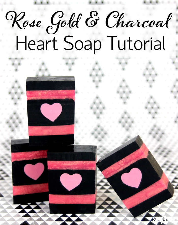 charcoal and rose valentine's day soap tutorial