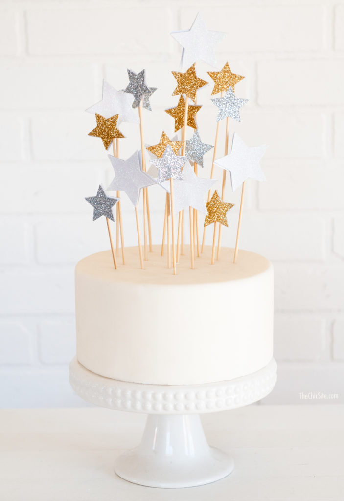 easy sparkling paper star cake topper decorations