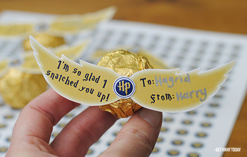 Harry potter golden snitch valentine with free printable wings