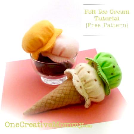felt ice cream cone play set pattern and tutorial