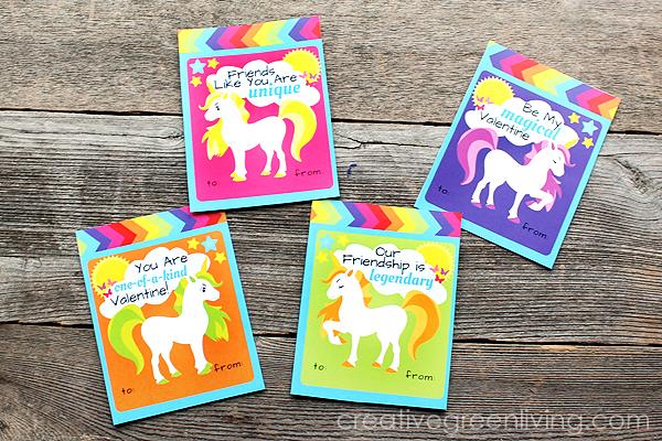 Free printable rainbow unicorn valentine's day cards