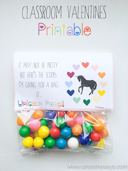 unicorn poop valentine's day printable