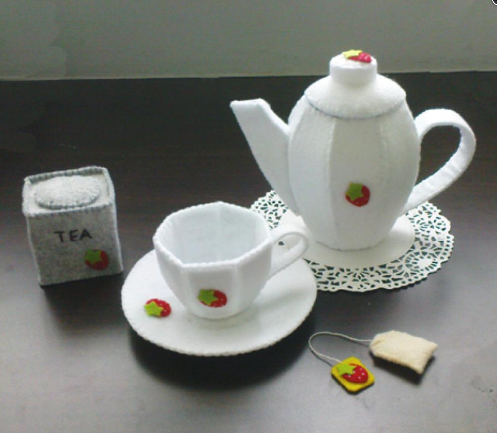 felt tea set pattern and tutorial