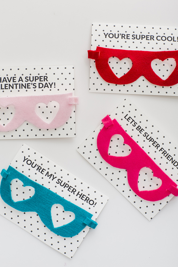 felt superhero mask valentine tutorial