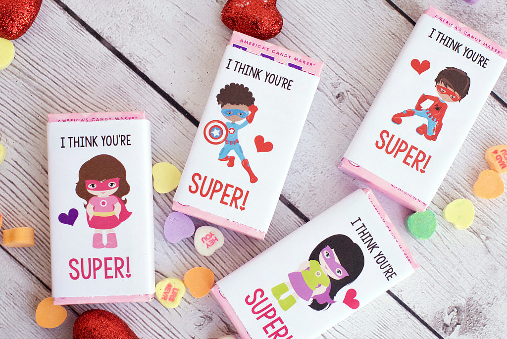 Superhero girl valentine's day juice box printable covers