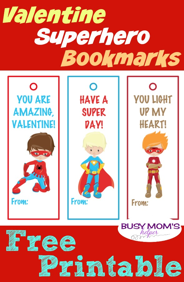 superhero valentine free printable bookmarks