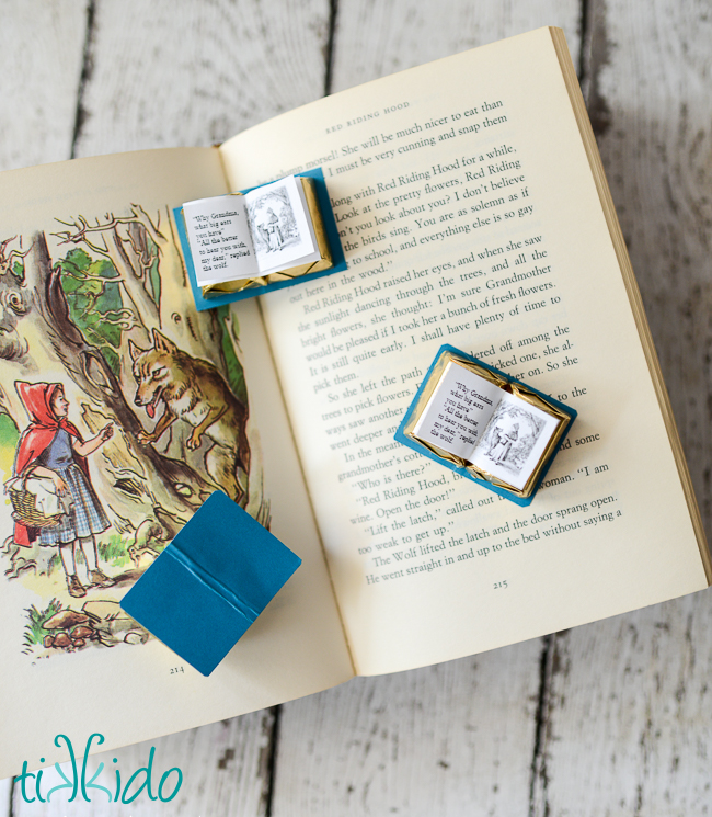 turn chocolates into miniature book favors