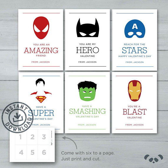 simple graphic printable superhero valentines