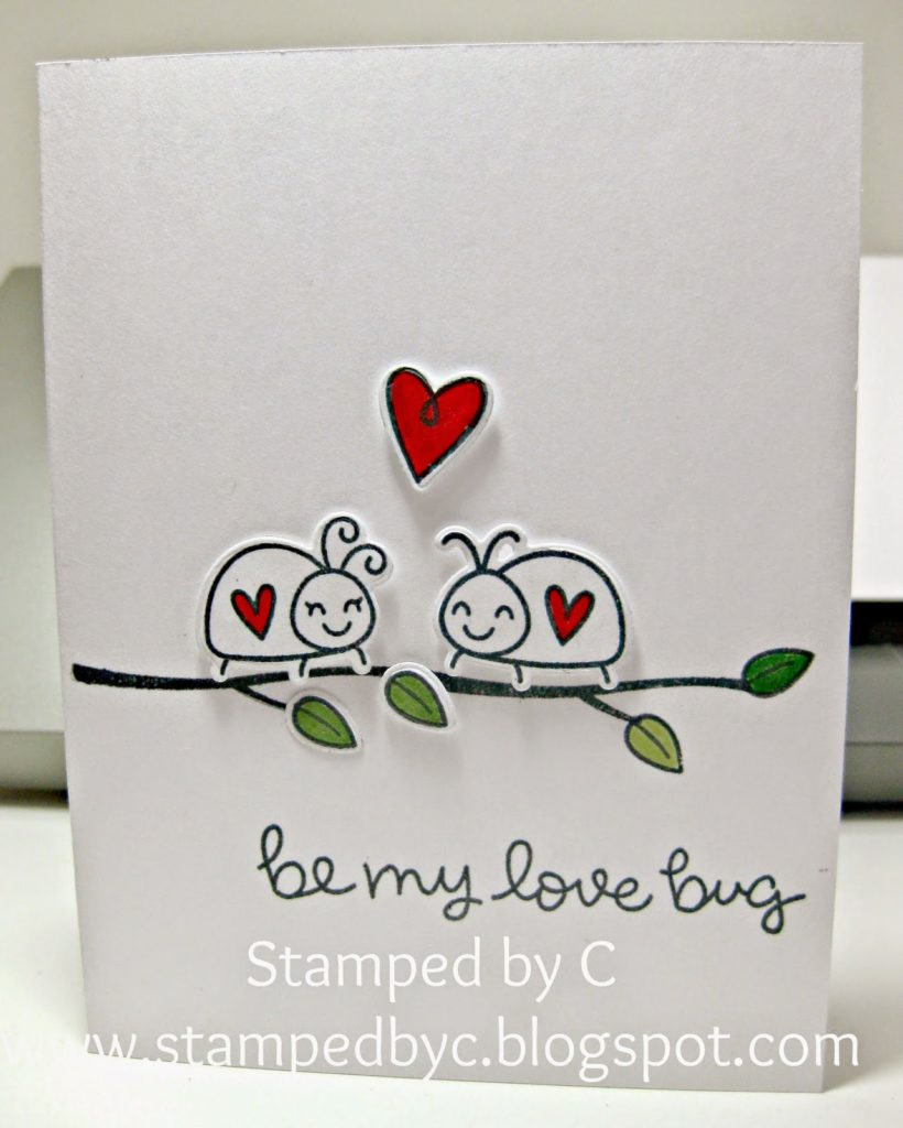 stamped love bug Valentine's day card tutorial