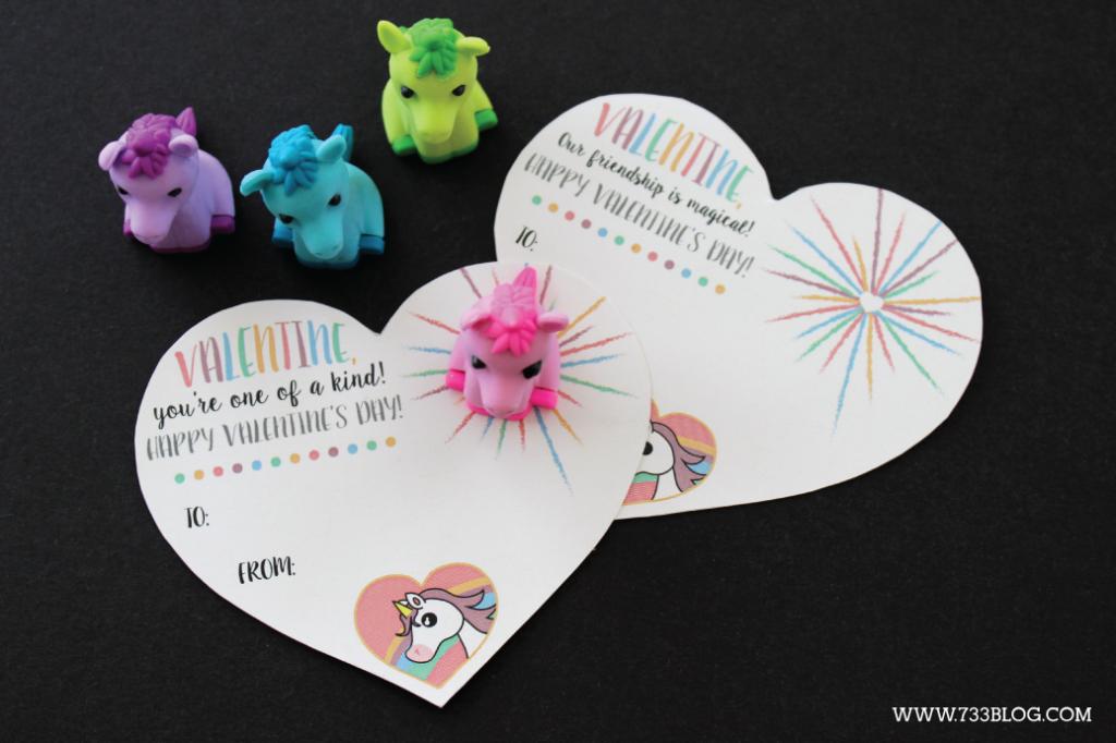 Printable unicorn valentines