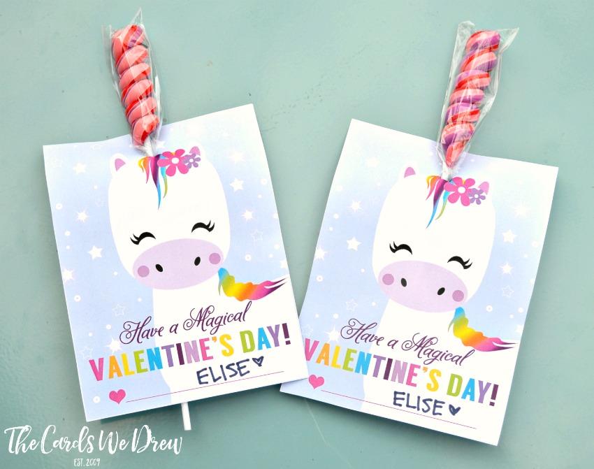 Printable unicorn valentine lollipop holder