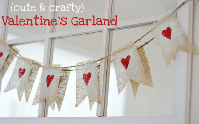 burlap valentine's day garland tutorial