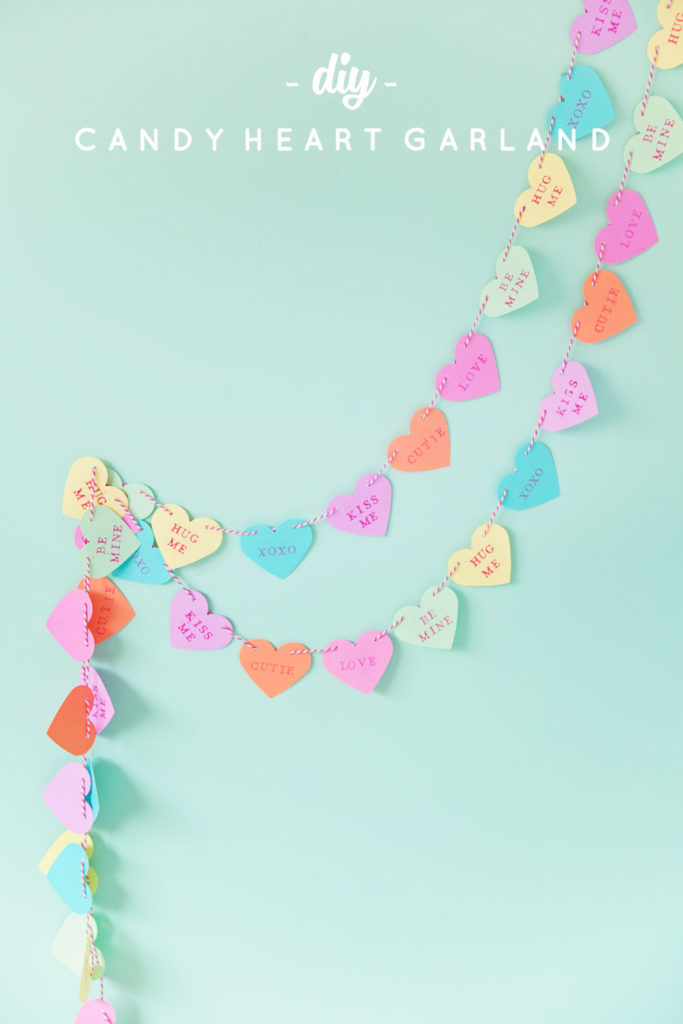 DIY Candy hearts valentine's day garland tutorial