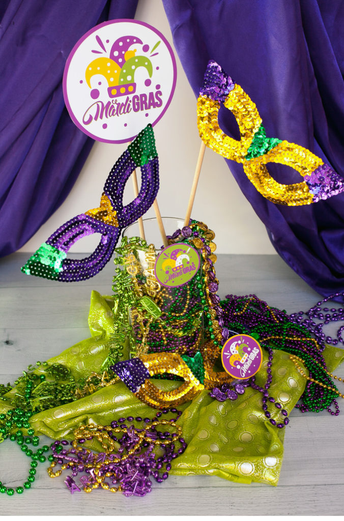 mardi gras centerpiece tutorial