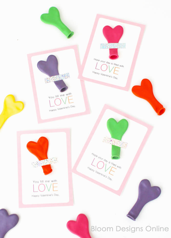 balloon non candy printable valentine's day cards