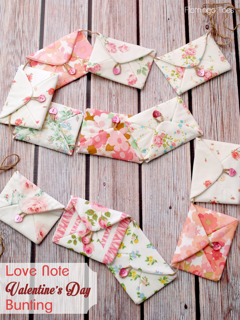Love note sewn fabric Valentine's day garland