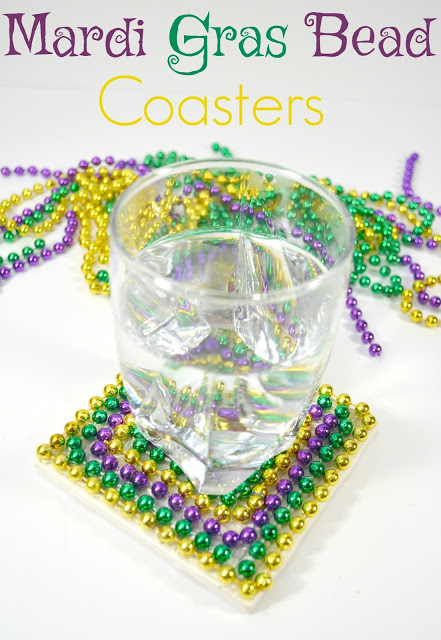 Mardi gras bead coaster tutorial