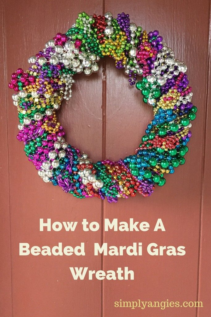 simple mardi gras beads wreath tutorial