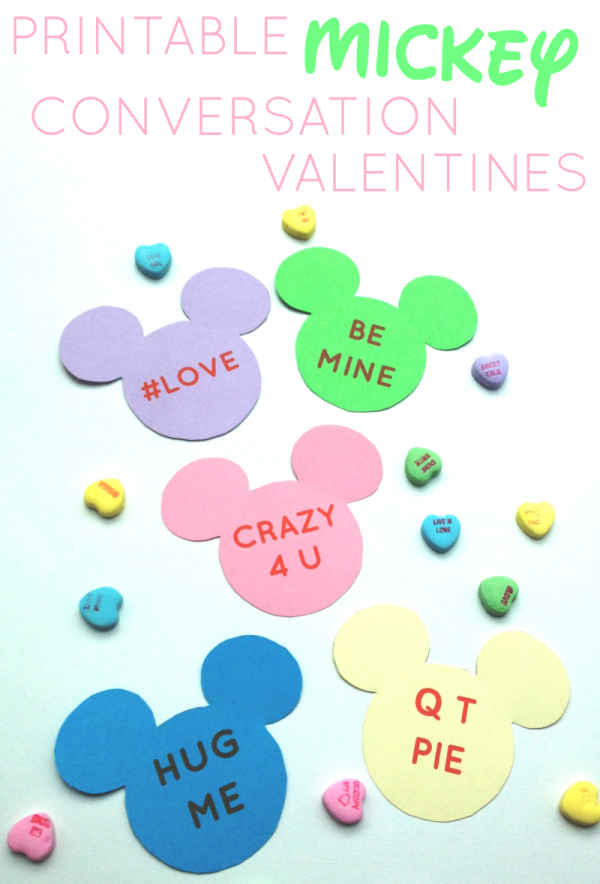 Mickey Mouse conversation heart style valentines tutorial