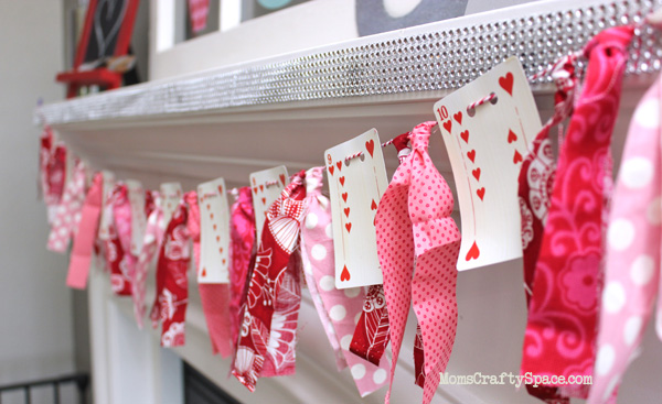 heart playing card and fabric valentine's day garland tutorial