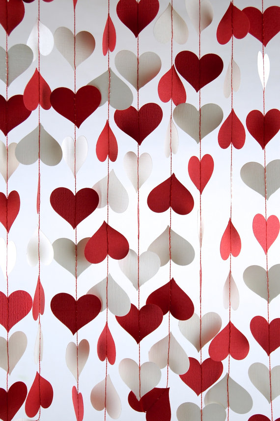 curtain of hearts garland for Valentine's day