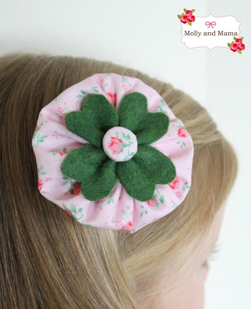 Felt four leaf clover and fabric hair clip for St. Patrick's Day
