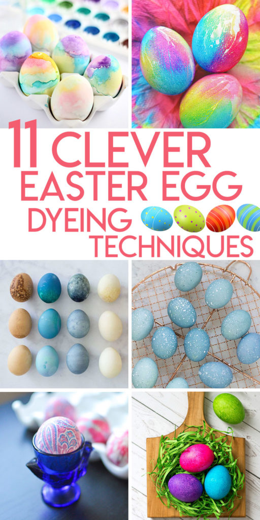 Collage of 11 clever easter egg dyeing techniques