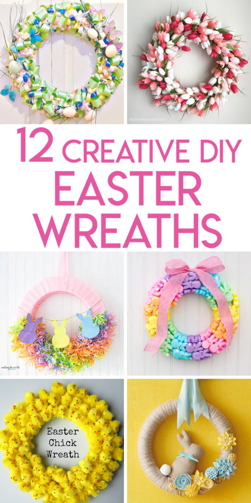 Collage of Easter and spring wreaths optimized for Pinterest
