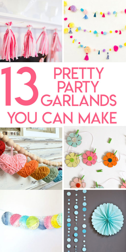 Collage of DIY party garlands optimized for pinterest